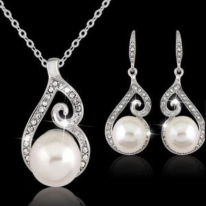 Pearl and Silver Necklace and Earrings set